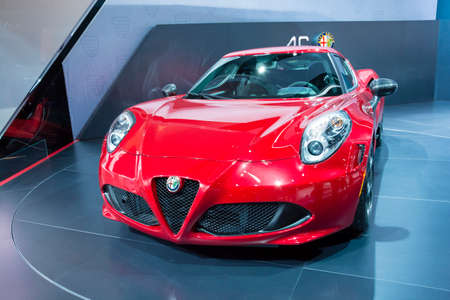 alfa: Detroit, MI, USA - January 12, 2015: Alfa Romeo 4C on display during the 2015 Detroit International Auto Show at the COBO Center in downtown Detroit.