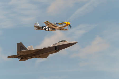 andrews: CAMP SPRINGS, MD, USA - SEPTEMBER 19, 2015: The F-22 performs during the 2015 Joint Base Andrews Air Show held at Joint Base Andrews in Camp Springs Maryland.
