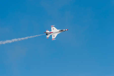 andrews: CAMP SPRINGS, MD, USA - SEPTEMBER 19, 2015: The USAF Thunderbirds perform during the 2015 Joint Base Andrews Air Show held at Joint Base Andrews in Camp Springs Maryland. Editorial