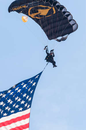 andrews: CAMP SPRINGS, MD, USA - SEPTEMBER 19, 2015: The SOCOM Para-Commandos perform during the 2015 Joint Base Andrews Air Show held at Joint Base Andrews in Camp Springs Maryland. Editorial