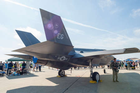 stealth: CAMP SPRINGS, MD, USA - SEPTEMBER 19, 2015: Visitors were able to check out the F-35 Lightning II, from a distance, during the 2015 Joint Base Andrews Air Show held at Joint Base Andrews in Camp Springs Maryland.