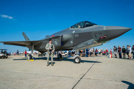 stealth: CAMP SPRINGS, MD, USA - SEPTEMBER 19, 2015: Visitors could check out the F-35 Lightning II, from a distance, during the 2015 Joint Base Andrews Air Show held at Joint Base Andrews in Camp Springs Maryland.