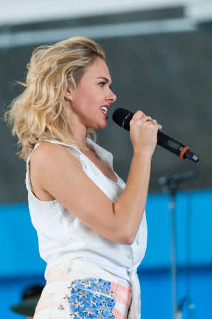 andrews: CAMP SPRINGS, MD, USA - SEPTEMBER 19, 2015: Laura Bell Bundy performs during the 2015 Joint Base Andrews Air Show held at Joint Base Andrews in Camp Springs Maryland.