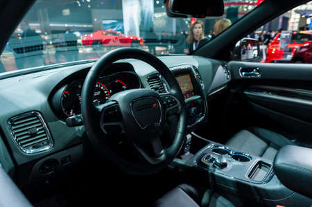 jacob: New York, USA - March 23, 2016: Dodge Durango Interior on display during the New York International Auto Show at the Jacob Javits Center.