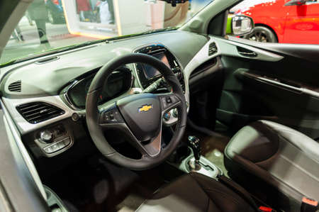 jacob: New York, USA - March 23, 2016: Chevrolet Spark interior on display during the New York International Auto Show at the Jacob Javits Center. Editorial