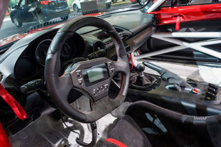 mazda: New York, USA - March 23, 2016: Mazda MX-5 Cup race car interior on display during the New York International Auto Show at the Jacob Javits Center.