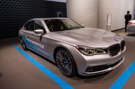 jacob: New York, USA - March 23, 2016: BMW 740e on display during the New York International Auto Show at the Jacob Javits Center. Editorial