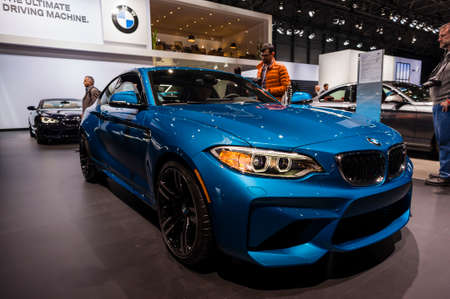 jacob: New York, USA - March 23, 2016: BMW M2 on display during the New York International Auto Show at the Jacob Javits Center.