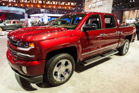 silverado: New York, USA - March 23, 2016: Chevrolet Siverado on display during the New York International Auto Show at the Jacob Javits Center.