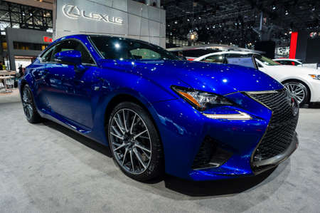 lexus auto: New York, USA - March 23, 2016: Lexus RC F on display during the New York International Auto Show at the Jacob Javits Center.