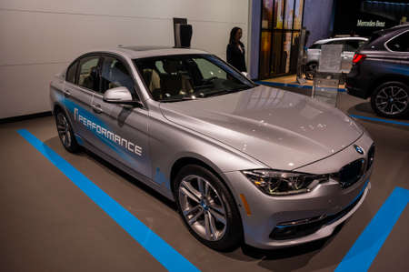 jacob: New York, USA - March 23, 2016: BMW 330e on display during the New York International Auto Show at the Jacob Javits Center. Editorial