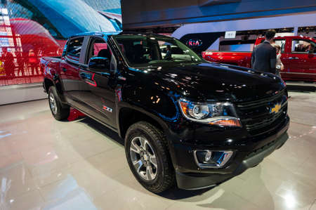 jacob: New York, USA - March 23, 2016: Chevrolet Colorado on display during the New York International Auto Show at the Jacob Javits Center.
