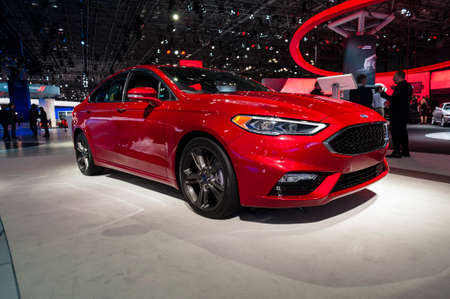 jacob: New York, USA - March 23, 2016: Ford Fusion Sport on display during the New York International Auto Show at the Jacob Javits Center.