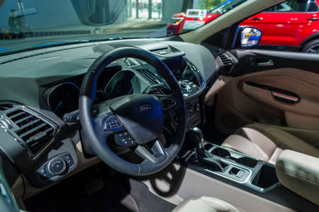 titanium: New York, USA - March 23, 2016: Ford Escape Titanium interior on display during the New York International Auto Show at the Jacob Javits Center. Editorial
