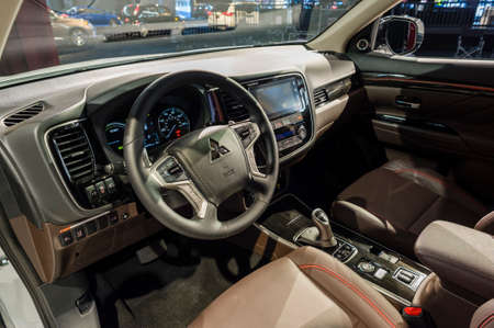 outlander: New York, USA - March 24, 2016: Mitsubishi Outlander interior on display during the New York International Auto Show at the Jacob Javits Center. Editorial
