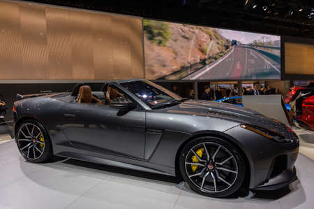 New York, USA - March 24, 2016: Jaguar F-Type on display during the New York International Auto Show at the Jacob Javits Center. Редакционное