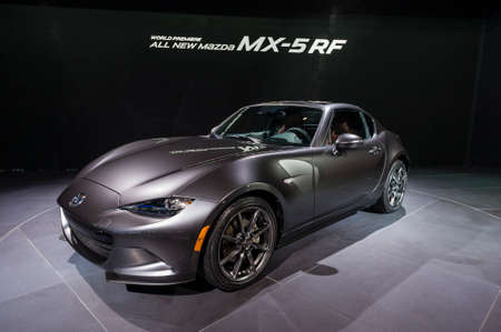 mazda: New York, USA - March 24, 2016: Mazda MX-5 RF on display during the New York International Auto Show at the Jacob Javits Center.