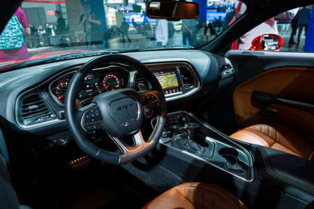 jacob: New York, USA - March 23, 2016: Dodge Challenger SRT Hellcat interior on display during the New York International Auto Show at the Jacob Javits Center.