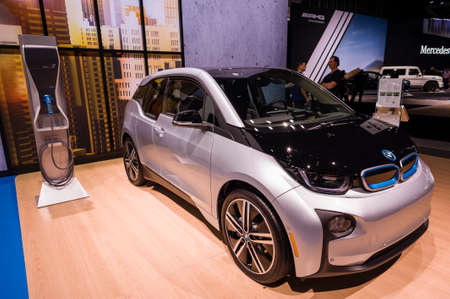 i3: New York, USA - March 23, 2016: BMW i3 on display during the New York International Auto Show at the Jacob Javits Center.