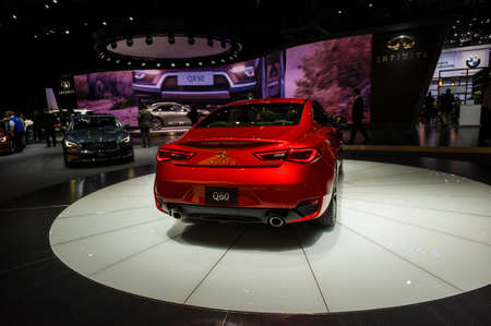 New York, USA - March 23, 2016: Infiniti Q60 on display during the New York International Auto Show at the Jacob Javits Center.