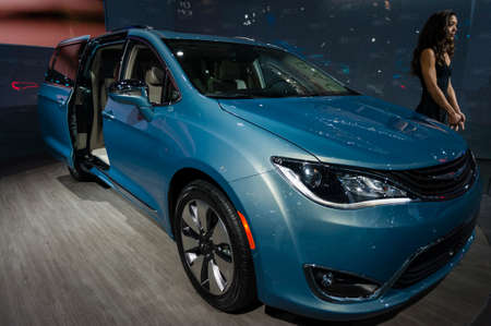 chrysler: New York, USA - March 23, 2016: Chrysler Pacifica hybrid on display during the New York International Auto Show at the Jacob Javits Center. Editorial