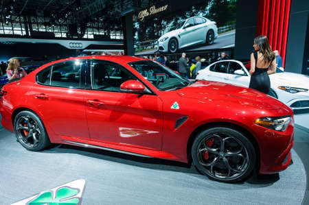 alfa: New York, USA - March 23, 2016: Alfa Romeo Giulia Quadrifoglio on display during the New York International Auto Show at the Jacob Javits Center.