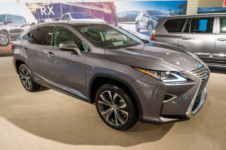 lexus auto: New York, USA - March 24, 2016: Lexus RX450h on display during the New York International Auto Show at the Jacob Javits Center.