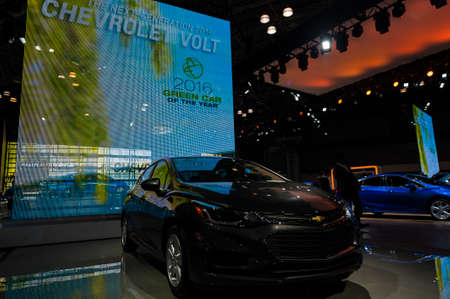 voltage: New York, USA - March 23, 2016: Chevrolet Volt on display during the New York International Auto Show at the Jacob Javits Center.