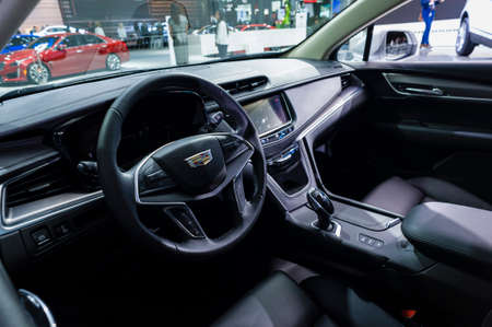 jacob: New York, USA - March 23, 2016: Cadillac XT5 interior on display during the New York International Auto Show at the Jacob Javits Center. Editorial