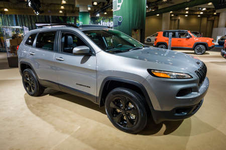 cherokee: New York, USA - March 24, 2016: Jeep Cherokee on display during the New York International Auto Show at the Jacob Javits Center.