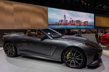jacob: New York, USA - March 24, 2016: Jaguar F-Type on display during the New York International Auto Show at the Jacob Javits Center. Editorial