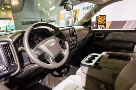 silverado: New York, USA - March 24, 2016: Chevrolet Silverado interior on display during the New York International Auto Show at the Jacob Javits Center.