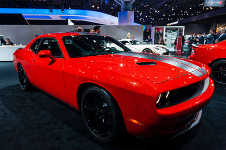 challenger: New York, USA - March 23, 2016: Dodge Challenger on display during the New York International Auto Show at the Jacob Javits Center.