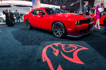 challenger: New York, USA - March 23, 2016: Dodge Challenger SRT Hellcat on display during the New York International Auto Show at the Jacob Javits Center. Editorial