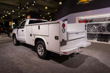 silverado: New York, USA - March 24, 2016: Chevrolet Silverado with a utility bed on display during the New York International Auto Show at the Jacob Javits Center.
