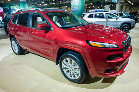 cherokee: New York, USA - March 24, 2016: Jeep Cherokee 75th anniversary on display during the New York International Auto Show at the Jacob Javits Center.