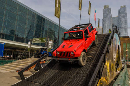 off course: New York, USA - March 24, 2016: Jeep on the off road course during the New York International Auto Show at the Jacob Javits Center.