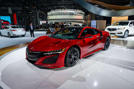 acura: New York, USA - March 24, 2016: Acura NSX on display during the New York International Auto Show at the Jacob Javits Center.