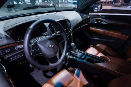 car show: New York, USA - March 23, 2016: Cadillac ATS interior on display during the New York International Auto Show at the Jacob Javits Center.