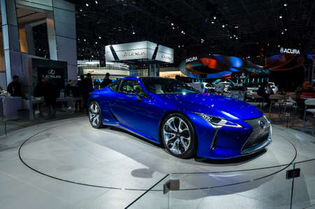 lexus auto: New York, USA - March 23, 2016: Lexus LC500h on display during the New York International Auto Show at the Jacob Javits Center.