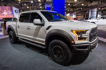 raptor: New York, USA - March 24, 2016: Ford F-150 Raptor on display during the New York International Auto Show at the Jacob Javits Center. Editorial