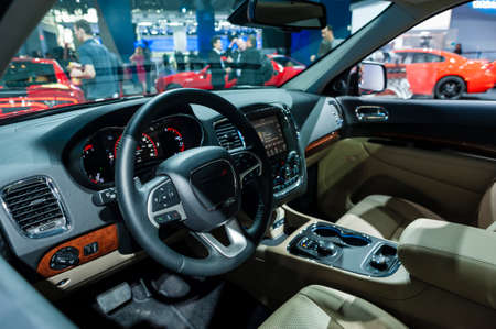 New York, USA   March 23, 2016: Dodge Durango Interior On Display During