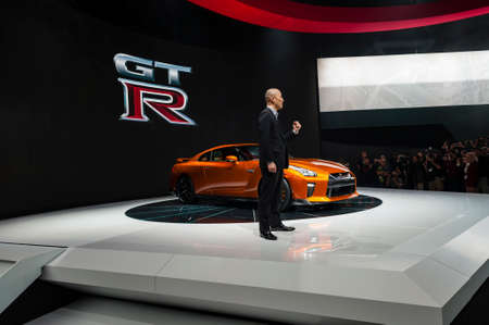 nissan: New York, USA - March 23, 2016: Nissans Keno Kato debuts the new GT-R during the New York International Auto Show at the Jacob Javits Center. Editorial