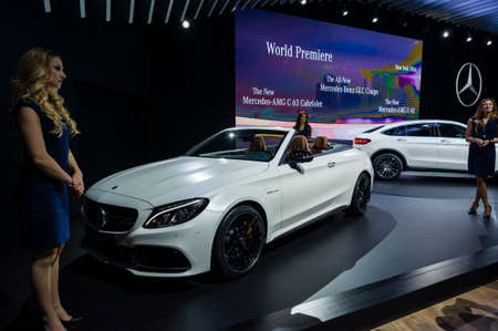New York, USA - March 23, 2016: Mercedes AMG C63 cabriolet on display during the New York International Auto Show at the Jacob Javits Center.