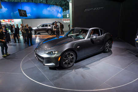 mazda: New York, USA - March 23, 2016: Mazda MX-5 RF on display during the New York International Auto Show at the Jacob Javits Center.