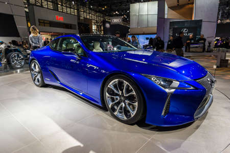 lexus auto: New York, USA - March 24, 2016: Lexus LC500h on display during the New York International Auto Show at the Jacob Javits Center.
