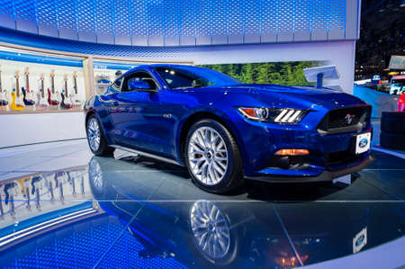 mustang gt: New York, USA - March 23, 2016: Ford Mustang GT on display during the New York International Auto Show at the Jacob Javits Center.