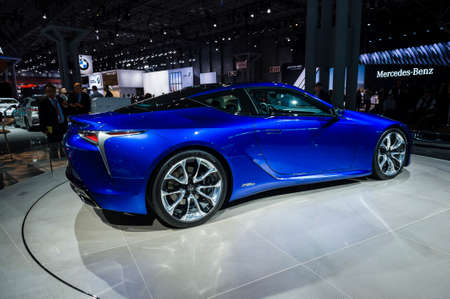 jacob: New York, USA - March 23, 2016: Lexus LC500h on display during the New York International Auto Show at the Jacob Javits Center.