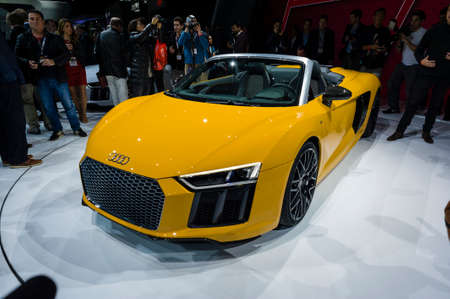 jacob: New York, USA - March 23, 2016: Audi R8 Spyder on display during the New York International Auto Show at the Jacob Javits Center.