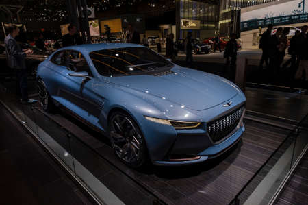 genesis: New York, USA - March 24, 2016: Genesis New York concept on display during the New York International Auto Show at the Jacob Javits Center.